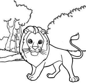 Best Male Lion Cartoon Coloring Sheet