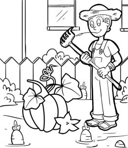 Best Pumpkin Harvested by a Farmer Coloring Sheet