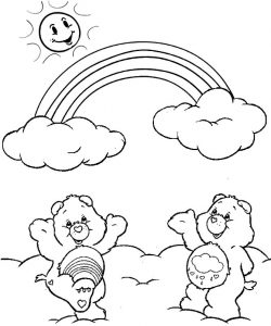 Care Bears and Rainbow Coloring Page