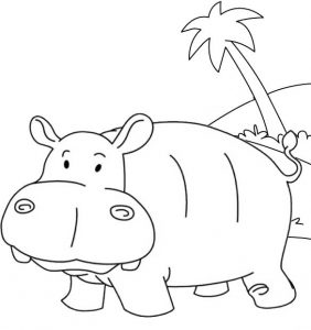 Cartoon baby hippo coloring sheet