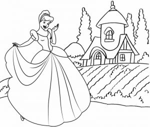 Cinderella Cartoon Coloring Page for Girls