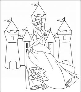 Cinderella and Castle Toy Coloring Sheet