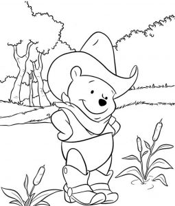 Cute Cowboy Winnie the Pooh Coloring Page