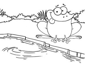 Cute Frog Coloring Page for Kids