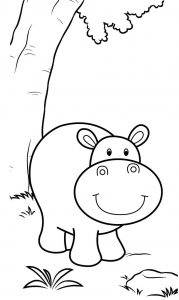 Cute Hippo Smiling Coloring Sheet for Boys and Girls