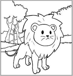 Cute Lion Cartoon Coloring Sheet