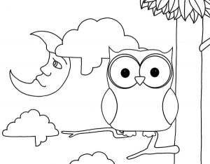 Cute Owl Alighted on tree branch Coloring Sheet