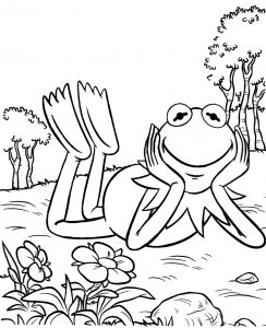 Cute Printable Kermit the frog lying down coloring sheet