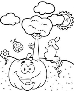 Cute Pumpkin Cartoon Coloring Sheet
