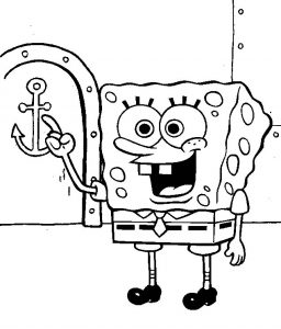 Cute and Smart Spongebob Cartoon Coloring Sheet
