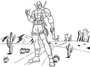 Deadpool Cartoon Coloring Sheet for Kids