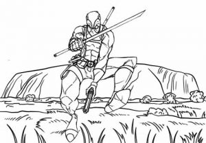 Deadpool Fight Scene Coloring Page