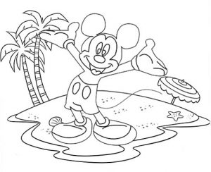 Disney Micky Mouse Beach Theme Coloring Page