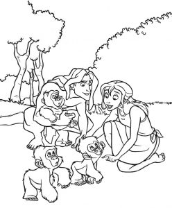 Disney Tarzan Jane and Baby Monkeys Coloring Sheet