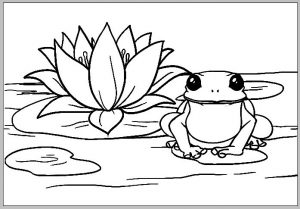 Frog and Lotus Coloring Page