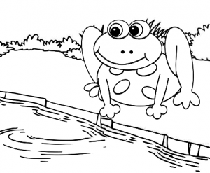 Frog with river scene coloring page for kids