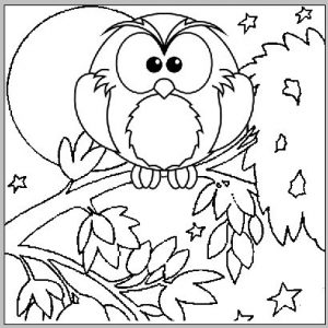 Full Moon Owl Coloring Page for Kid