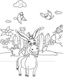 Fun Donkey Coloring Page of Shrek