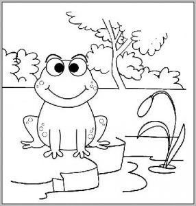Funny Frog at the river Coloring Sheet