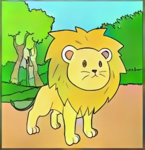 Funny Lion Cartoon Coloring Work from Cacha