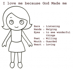 God Made Me Special Coloring Sheet for Girls