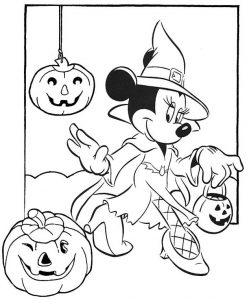 Halloween Minnie Mouse Coloring Page of Disney
