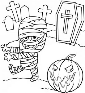 Halloween Pumpkin and Mummy Coloring Page