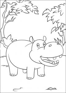 Happy Hippopotamus Coloring Page for Kids