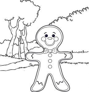 Happy gingerbread man coloring page of Shrek