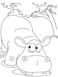 Hippo Cartoon Drinking Water Coloring Page for your Little Kids
