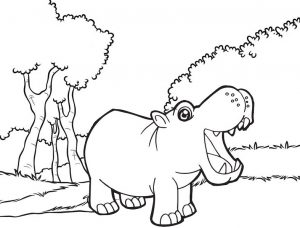 Hippo open mouth cartoon coloring sheet