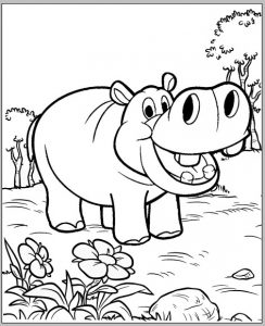 Interesting Hippo Cartoon Coloring Sheet