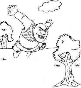 Jumping Shrek Ogre Coloring Sheet