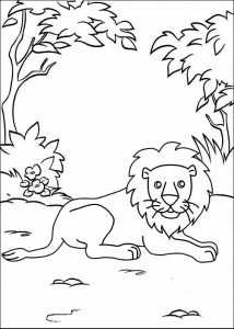 Lion ready to sleep coloring sheet