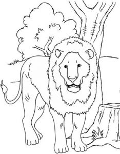 Lion woke up coloring sheet for kids