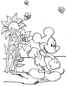 Mickey Mouse with Sunflower Plant Coloring Page
