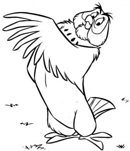 Owl Cartoon Coloring Page of Winne the Pooh