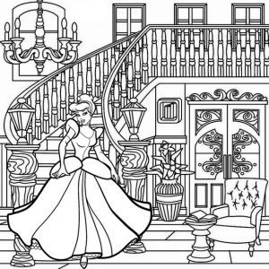 Princess Cinderella Coming Down the Stairs Coloring Page