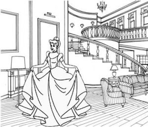 Princess Cinderella in the room of castle coloring page