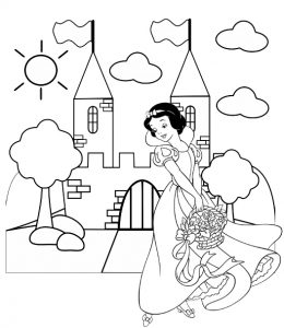 Princess Snow White Castle Coloring Sheet