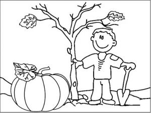 Pumpkin Plant in the Field Coloring Sheet