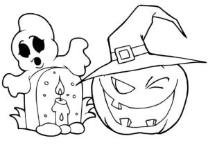 Pumpkin and Halloween Graveyard coloring page