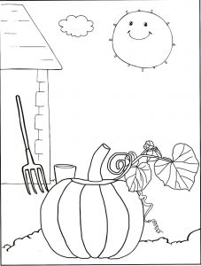 Pumpkin at barn side coloring page
