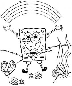 Rainbow Spongebob Coloring Page