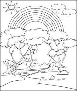 Rainbow Tree Coloring Page for Kids
