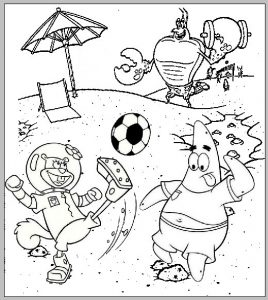 Sandy Cheeks and Patrick Playing a Ball Coloring Page of Spongebob