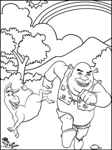Shrek and Donkey Coloring Page