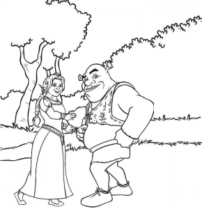 Shrek and Princess Fiona Coloring Sheet for Kids