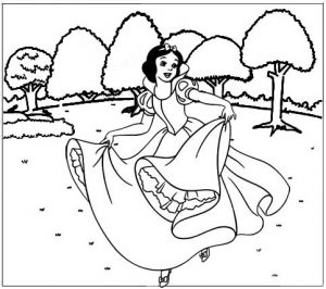 Snow White Dancing Coloring Sheet