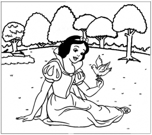 Snow White Sitting with a bird Coloring Sheet